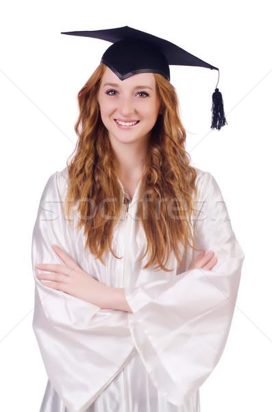 Diplomás lány izolált fehér kezek mosoly Stock fotó © Elnur