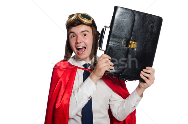 Funny here with briefcase isolated on the white Stock photo © Elnur
