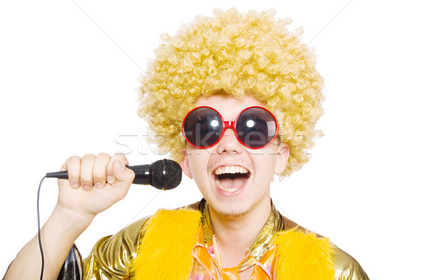 Man with afrocut and mic isolated on white Stock photo © Elnur