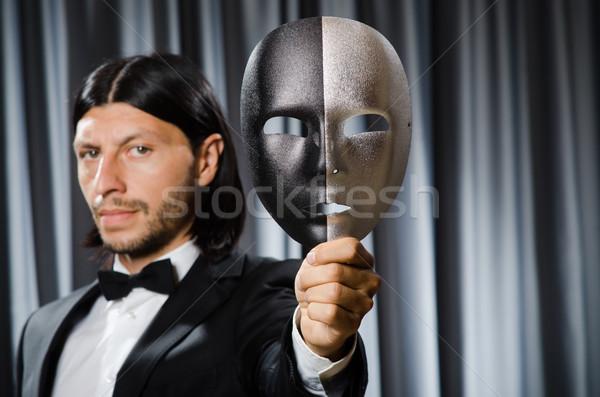 Vicces színpadi maszk arc szomorú arcok Stock fotó © Elnur
