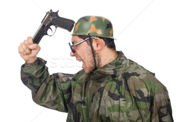 Militar hombre arma aislado blanco verde Foto stock © Elnur