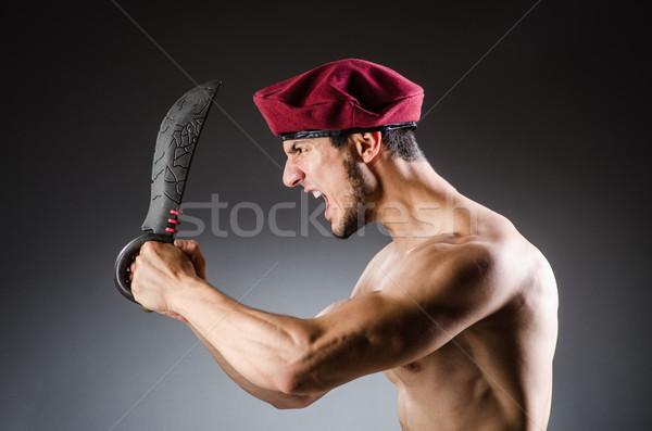 Stockfoto: Grappig · soldaat · militaire · man · groene · oorlog