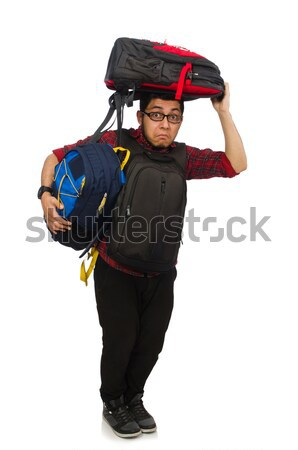 Young man with bags isolated on white Stock photo © Elnur
