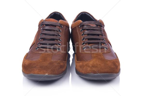 Stok fotoğraf: Kahverengi · ayakkabı · yalıtılmış · beyaz · spor · uygunluk