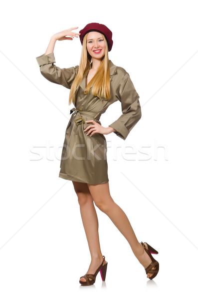 женщину военных одежду изолированный белый фон Сток-фото © Elnur