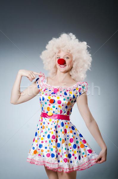 ピエロ 白 かつら グレー 笑顔 歳の誕生日 ストックフォト © Elnur