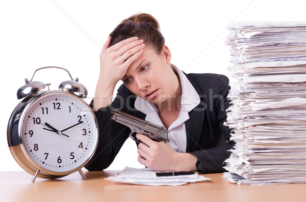 Foto stock: Mujer · arma · estrés · plazos · reloj · tiempo