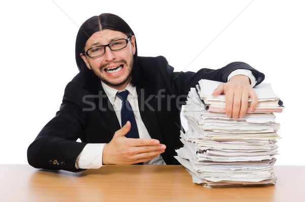 Businessman overwhelmed and stressed from paperwork Stock photo © Elnur