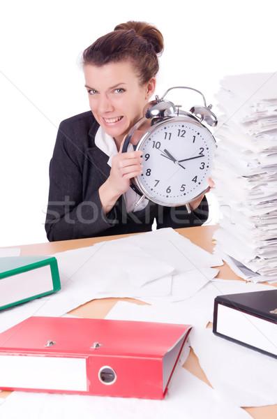 Nő üzletasszony stressz hiányzó határidők óra Stock fotó © Elnur