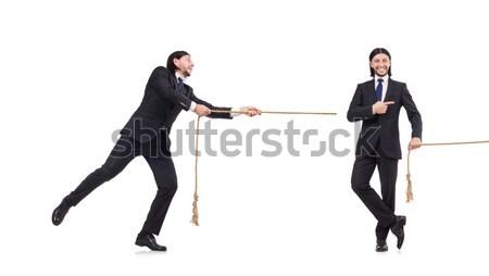 Stok fotoğraf: Iki · adam · kılıç · yalıtılmış · beyaz · iş · işadamı