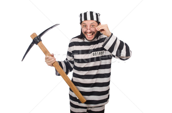 Prison inmate with axe isolated on white Stock photo © Elnur