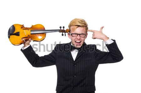 Young businessman with weapon isolated on white Stock photo © Elnur