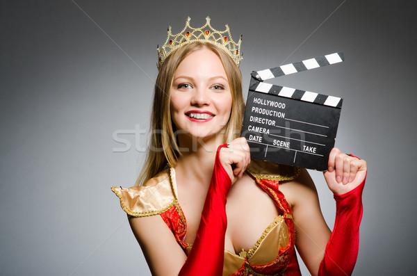 Królowej czerwona sukienka film kobieta tle sztuki Zdjęcia stock © Elnur
