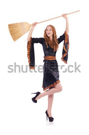 Stock photo: Blond hair girl in black evening dress isolated on white