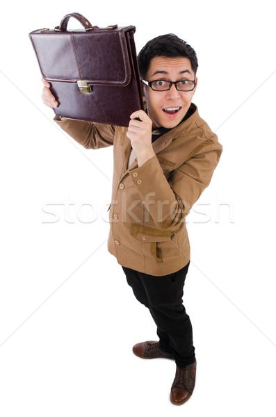 Joven marrón maletín aislado blanco ojo Foto stock © Elnur