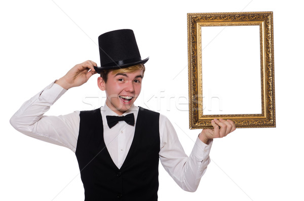 Guy with photo frame isolated on white Stock photo © Elnur