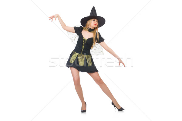 Beautiful witch in black dress isolated on white Stock photo © Elnur