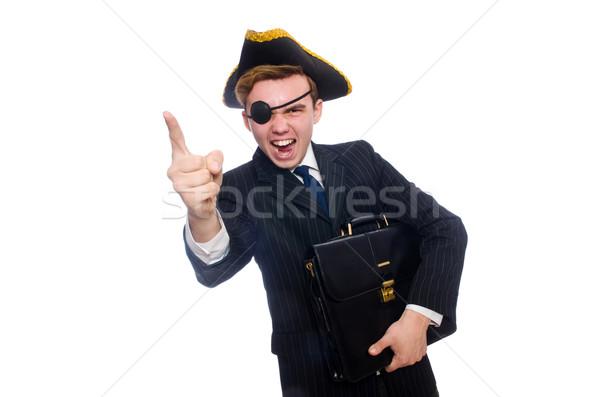 Jonge man kostuum piraat hoed geïsoleerd witte Stockfoto © Elnur