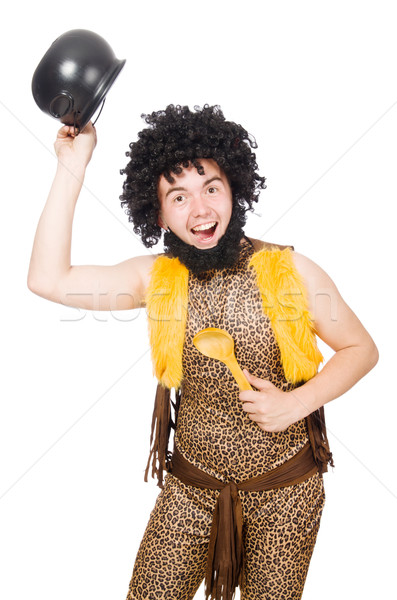 Funny caveman with pot isolated on white Stock photo © Elnur