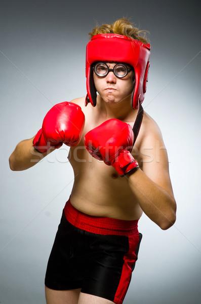 Vicces boxoló sötét kéz háttér doboz Stock fotó © Elnur
