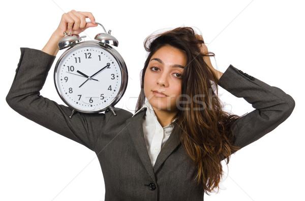 Businesswoman with clock missing her deadlines Stock photo © Elnur