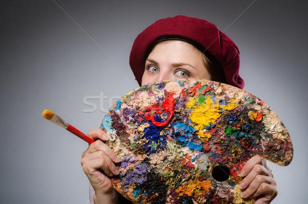 Femme artiste art fille travaux étudiant Photo stock © Elnur