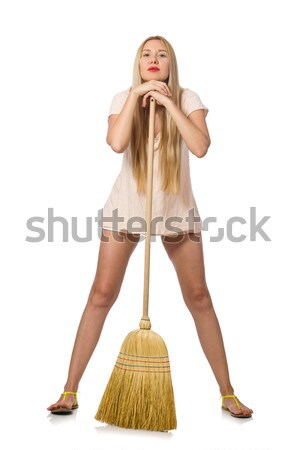 Young woman with broom isolated on white Stock photo © Elnur