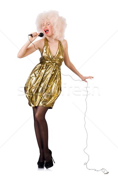 Foto stock: Cantante · micrófono · aislado · blanco · nina · modelo
