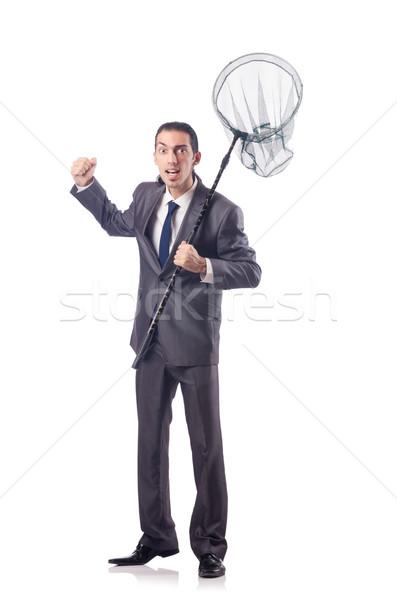 Vicces üzletember net fehér mosoly háttér Stock fotó © Elnur