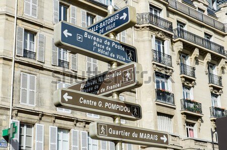 Stock photo: Street sign with directions in Paris