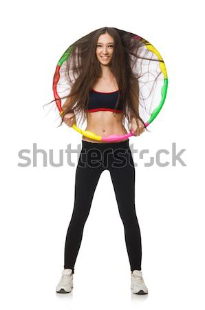 Vrouw hoelahoep geïsoleerd witte gelukkig sport Stockfoto © Elnur