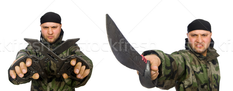Young man in soldier uniform holding knife isolated on white Stock photo © Elnur