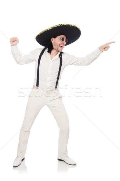 Homem mexicano sombrero isolado homem branco Foto stock © Elnur