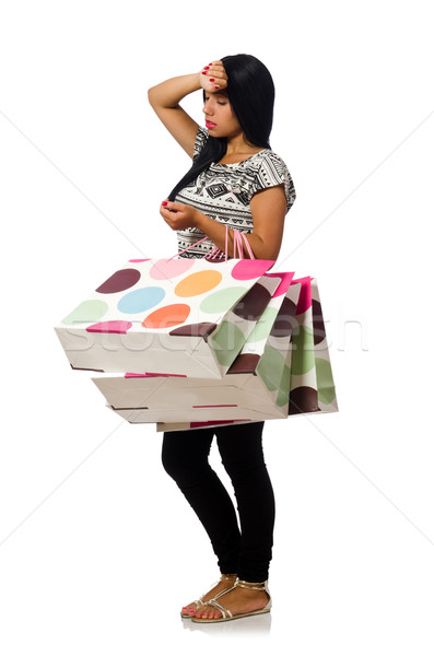 Woman with shopping bags isolated on white Stock photo © Elnur