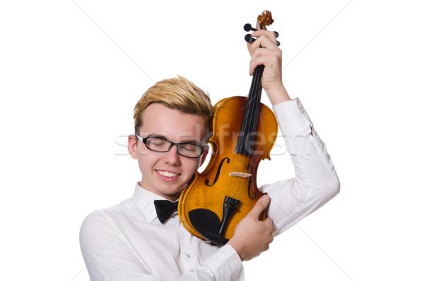 Jovem engraçado violino jogador isolado branco Foto stock © Elnur