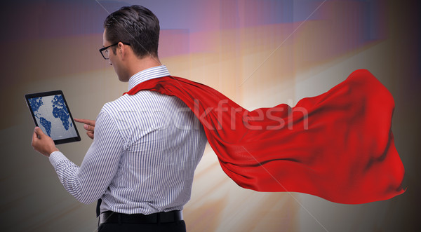 The man in red cover protecting city Stock photo © Elnur