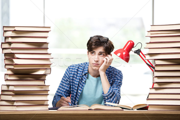 Young man student preparing for college exams Stock photo © Elnur