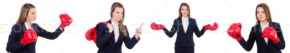 Mulher empresária luvas de boxe branco negócio escritório Foto stock © Elnur