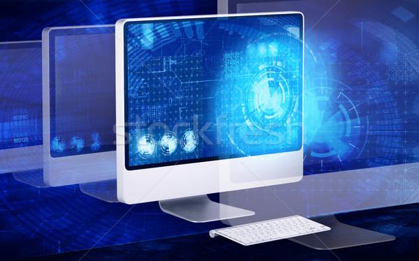 Ekranie komputera działalności komputera świecie streszczenie laptop Zdjęcia stock © Elnur