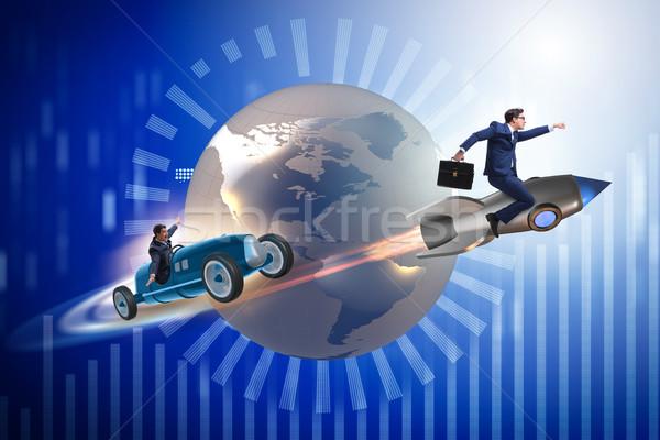 Verseny üzletemberek versenyző földgömb üzletember sebesség Stock fotó © Elnur