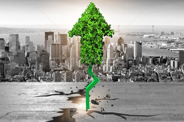 Green arrow pointing upwards - 3d rendering Stock photo © Elnur