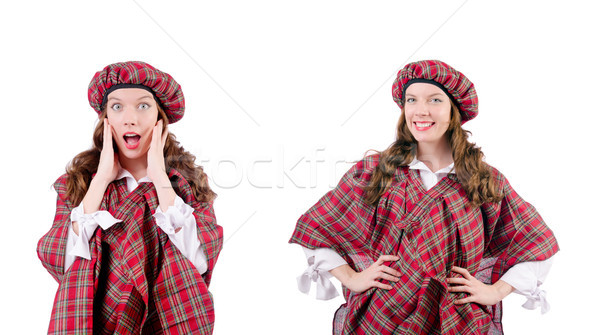 Young woman in traditional scottish clothing Stock photo © Elnur