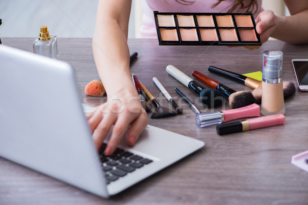Fashion blogger with make-up accessories Stock photo © Elnur