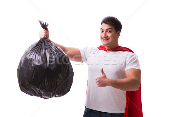 The superhero man with garbage sack isolated on white Stock photo © Elnur