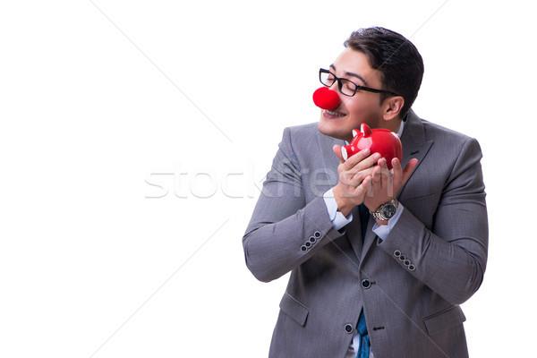 Foto d'archivio: Divertente · clown · imprenditore · salvadanaio · isolato · bianco
