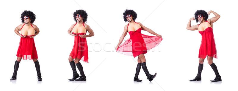 ストックフォト: 男 · ドレッシング · 女性 · ドレス · 面白い · 小さな