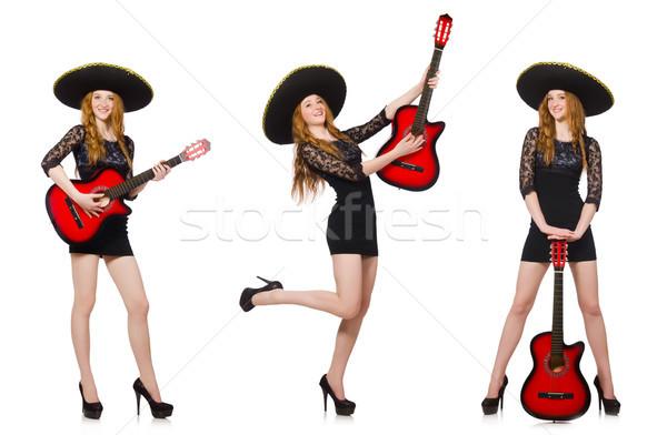 Mulher sombrero seis guitarra música festa Foto stock © Elnur