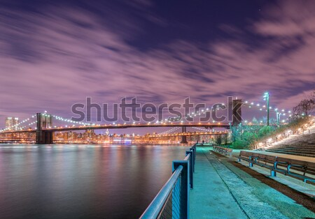 Night view of Manhattan and Brooklyn bridge Stock photo © Elnur