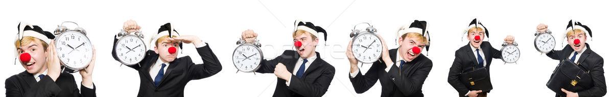 Işadamı palyaço komik yalıtılmış beyaz mutlu Stok fotoğraf © Elnur