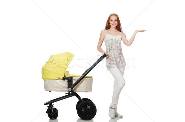 Vrouw baby kinderwagen geïsoleerd witte familie Stockfoto © Elnur
